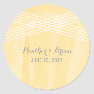 Yellow Watercolor Deco Wedding Round Sticker