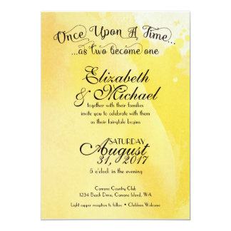Yellow Watercolor Fairytale Wedding Invitation