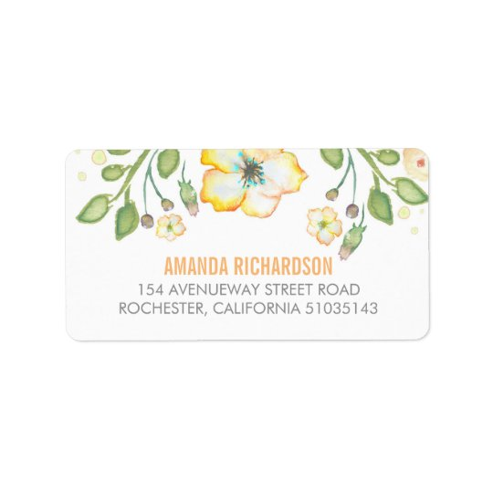 yellow watercolor flower wedding label