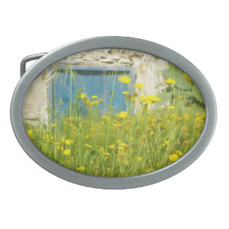 Yellow watercolor flowers belt buckles