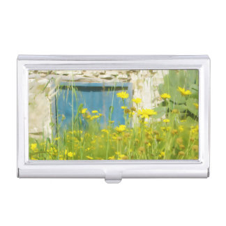 Yellow watercolor flowers business card holder
