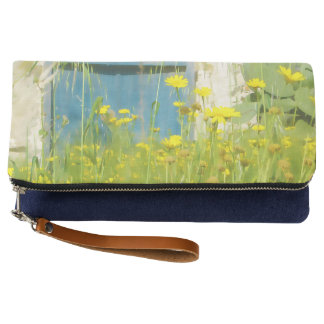 Yellow watercolor flowers clutch