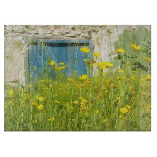 Yellow watercolor flowers cutting board