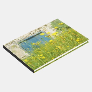 Yellow watercolor flowers guest book