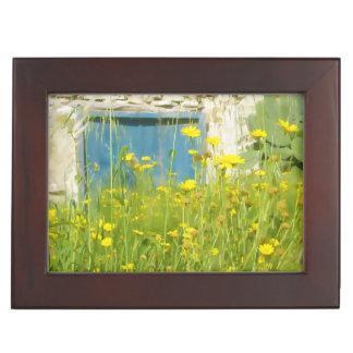 Yellow watercolor flowers keepsake box