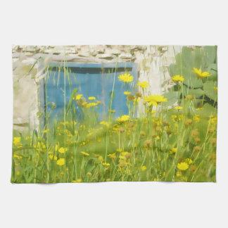 Yellow watercolor flowers kitchen towel