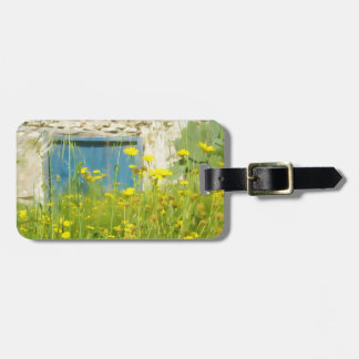 Yellow watercolor flowers luggage tag