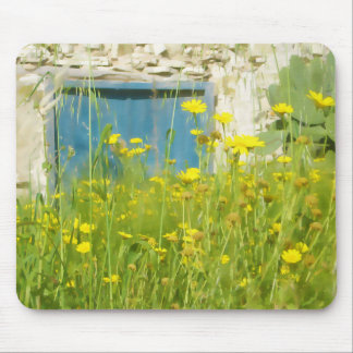 Yellow watercolor flowers mouse pad