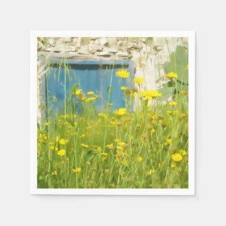 Yellow watercolor flowers napkin
