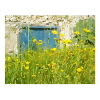 Yellow watercolor flowers postcard