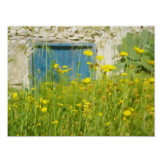 Yellow watercolor flowers poster