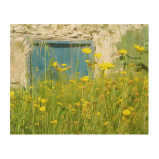 Yellow watercolor flowers wood print