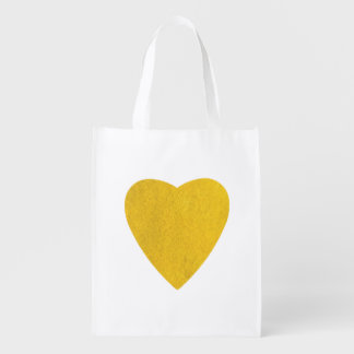 Yellow Watercolor Heart Reusable Grocery Bags