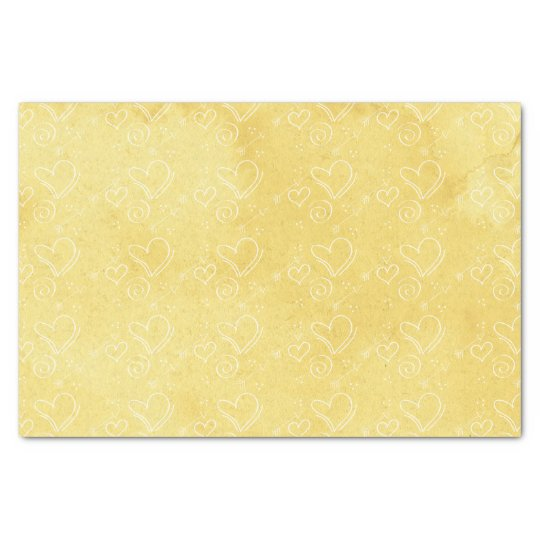 Yellow Watercolor Heart Tissue Paper