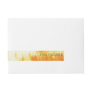 YELLOW WATERCOLOR LANDSCAPE TREE FOLIAGE MONOGRAM WRAPAROUND ADDRESS LABEL