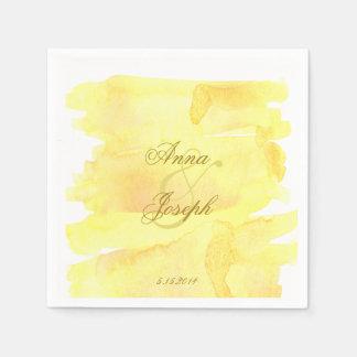 Yellow watercolor Napkins Paper Napkins