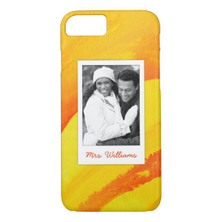 Yellow Watercolor On Paper   Add Photo iPhone 8/7 Case