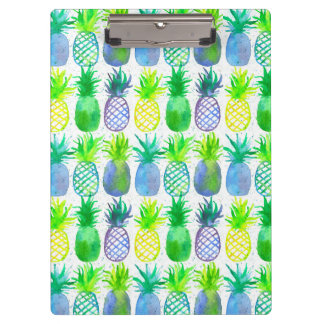 Yellow Watercolor Pineapples Clipboard