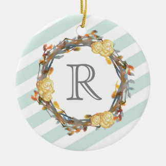 Yellow Watercolor Roses On A Twig Wreath Monogram Ceramic Ornament