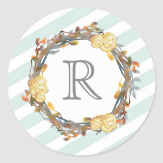 Yellow Watercolor Roses On A Twig Wreath Monogram Classic Round Sticker