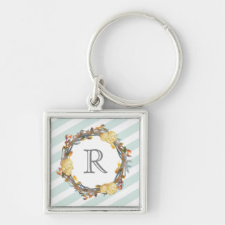 Yellow Watercolor Roses On A Twig Wreath Monogram Keychain