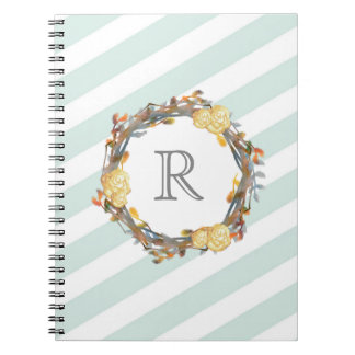 Yellow Watercolor Roses On A Twig Wreath Monogram Notebook