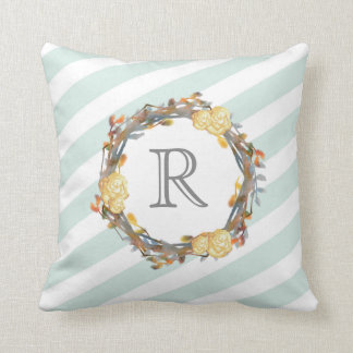 Yellow Watercolor Roses On A Twig Wreath Monogram Throw Pillow