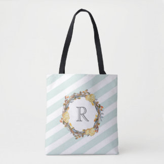 Yellow Watercolor Roses On A Twig Wreath Monogram Tote Bag