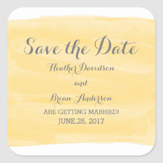 Yellow Watercolor Save the Date Stickers