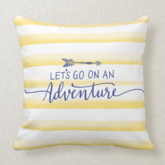 Yellow Watercolor Stripes and Adventure Quote Throw Pillow