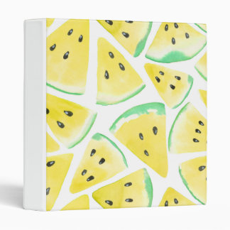 Yellow watermelon slices pattern 3 ring binder