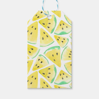Yellow watermelon slices pattern gift tags
