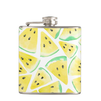 Yellow watermelon slices pattern hip flask