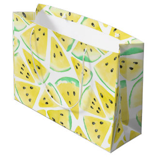 Yellow watermelon slices pattern large gift bag