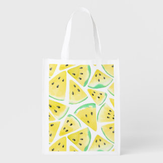 Yellow watermelon slices pattern reusable grocery bag