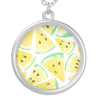 Yellow watermelon slices pattern silver plated necklace