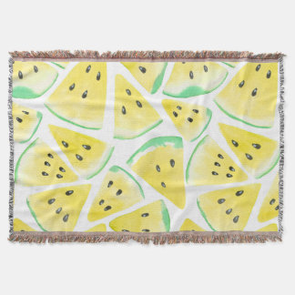 Yellow watermelon slices pattern throw blanket