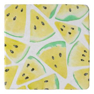 Yellow watermelon slices pattern trivet