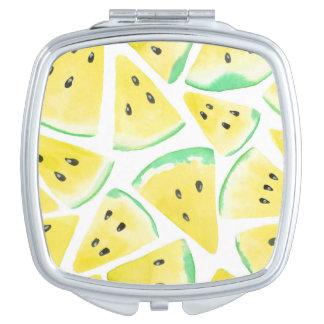 Yellow watermelon slices pattern vanity mirror