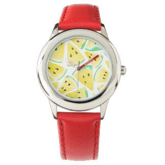 Yellow watermelon slices pattern watch
