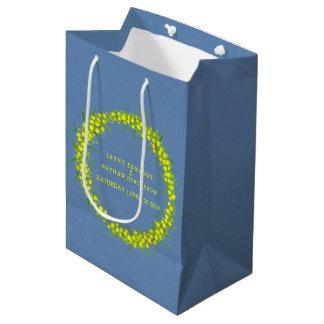 Yellow wattle acacia blue wedding gift bag