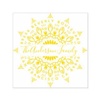 Yellow Wealth & Crowns Mandala Return Address Self-inking Stamp
