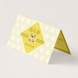 Yellow Wedding Escort Card w/ Gold b & f