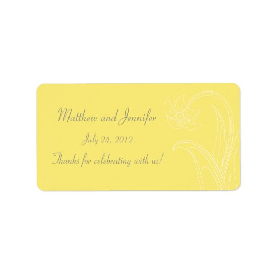 Yellow Wedding Favour Label or Gift Tag Stickers
