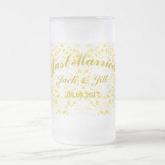 Yellow Wedding Frosted Mug 16 Oz