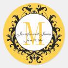 Yellow Wedding Monogram Names Date Sticker