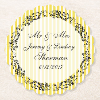 Yellow Wedding Personalized Custom Paper Coaster