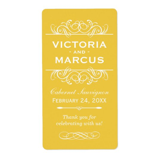 Yellow Wedding Wine Bottle Monogram Favour Labels