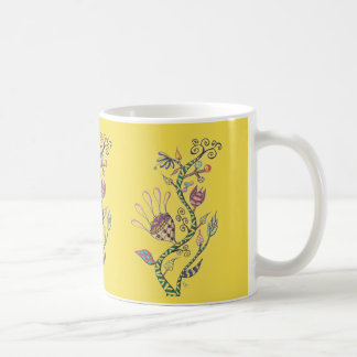 Yellow Whimsical Flowers Coffee Mug