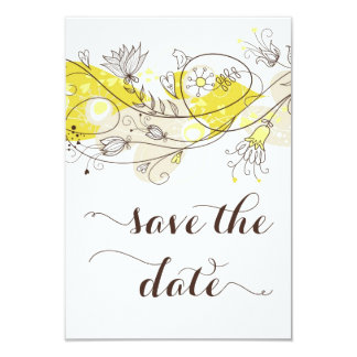 Yellow Whimsical Flowers Save The Date Invitation